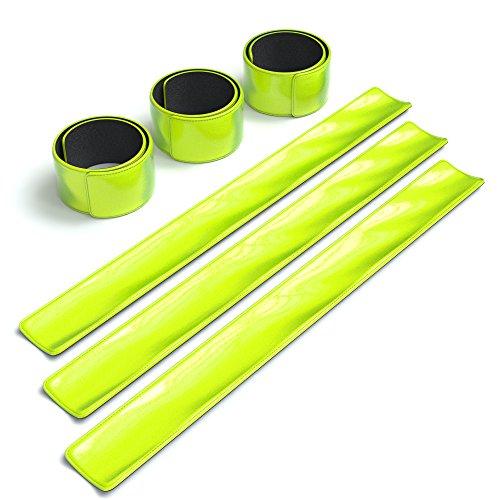 6x Reflektorband, Reflektoren Set, reflektierendes Schnapparmband, Sicherheitsarmband, Reflektorenbänder – ideal zur Erhöhung der Sichtbarkeit, nach DIN EN 13356, von EAZY CASE, Neon Gelb