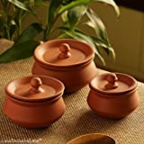 ExclusiveLane Handmade Earthen Clay Handis With Lids (Set Of 3) - Serving Gravy Pots Sauce Pan Urli Cooking Pot Dinnerware Tabletop Accessories Eco Friendly Earthenware Cookware Utensil