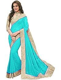 Sainath Women's Georgette Fabric Saree with Blouse Piece (Sky Blue,Free Size)