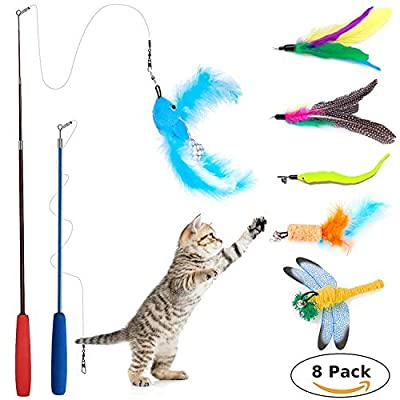 Wineecy 8 Pcs Cat Feather Toy, Cat Toy Wand, Teaser Wand Toy Set, Cat Toys Interactive Retractable Wand Rod with Assorted Feather Toy for Exercising Kitten or Cat by Wineecy