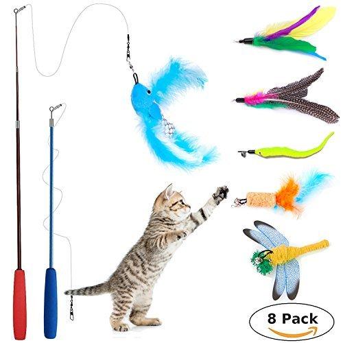 [8 in 1] Katzenspielzeug Feder, Wineecy 2 Retractable Katzenspielzeug Interactive Feather Teaser Zauberstab Spielzeug mit 6 Refills Federn Vögel Worms Catcher für Katzen Kätzchen (E-stab-refill)