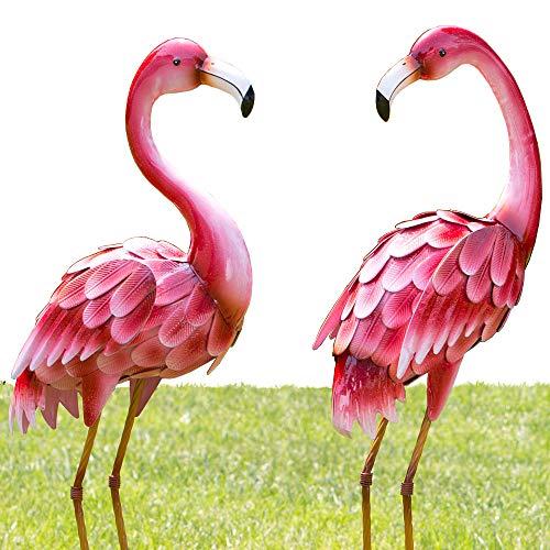 Bits und Teile-Set von Zwei (2) Metall Flamingo Garten-Statuen-Langlebig im Skulpturen Tolles Home Décor (2 Garten, Set Von Statuen,)