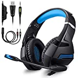 Gaming Headphone PS4, ZEEPIN Professional Gamer Cuffie con luce stereo a LED Noise Cancelling Microfono regolabile con jack da 3,5 mm per Xbox One PS4 PC Nintendo Switch Tablet Smartphone