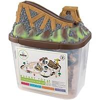 KidKraft 17805 Circuito de tren de juguete de madera para niños Bucket Top Construction con recipiente de almacenaje  y 61 piezas de juego incluidas