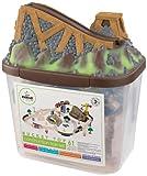 KidKraft 17805 Bucket Top Construction Holzeisenbahn-Set für Kinder mit Aufbewahrungsbox und 61 Spielteilen inklusiv Kran und