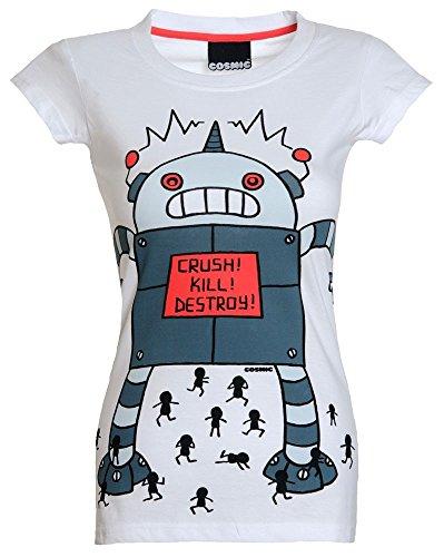 Cosmic Crush Kill Destroy T - Shirt Tattoo Roboter Comic - Girlie Weiß