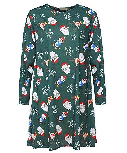 Generic Damen Swing-Kleid Kleid mehrfarbig * Einheitsgröße Grün