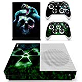 eXtremeRate Xbox One S Console Sticker Skin+2 Xbox One S Controller Aufkleber Schutzfolie+2 Konsole Power Button Stickers Abziehbilder(Skull)