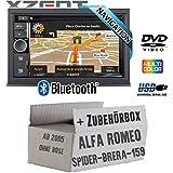 Alfa Romeo 159 Spider Brera - Autoradio Radio Xzent X-302BT-MK2 | 2-Din Navigation Bluetooth USB CD DVD Touchscreen TFT Navi Europa 47 Länder HDMI Einbauzubehör - Einbauset
