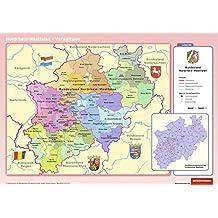 Posterkarten Geographie: Nordrhein-Westfalen: physisch / politisch