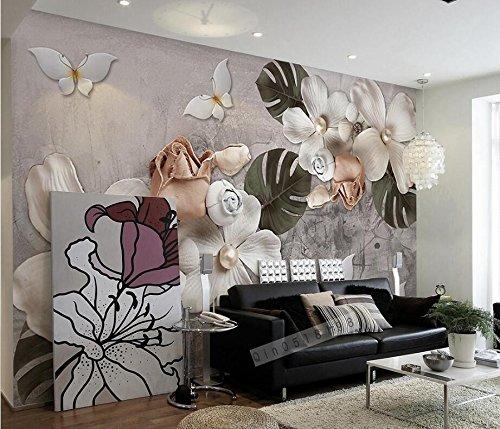 Wh-Porp 3D Wallpaper Stereo Relief Weiß Vier Blütenblätter Blumen Nordic Retro Wohnzimmer Schlafzimmer Tv Wandbild Tapete-300Cmx210Cm 5300 Stereo
