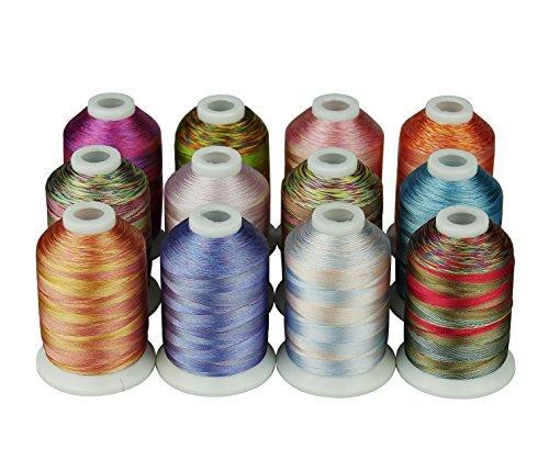 12Multi Color Polyester Stickgarn 1000Meter für je Janome Bruder Pfaff Babylock Singer Bernina Husqvaran und die Meisten Home Stickerei Maschinen -