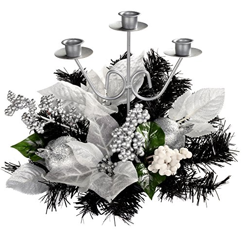 WeRChristmas Decorated Triple Tape Candle Holder Table Christmas Decoration, 22 cm - Black/Silver