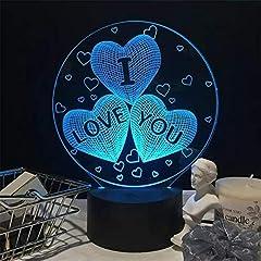 Idea Regalo - NaiCasy Illusione 3D I Love You Cuore Luce Notturna LED Romantica Lampada da Notte Decorazione di La tavola