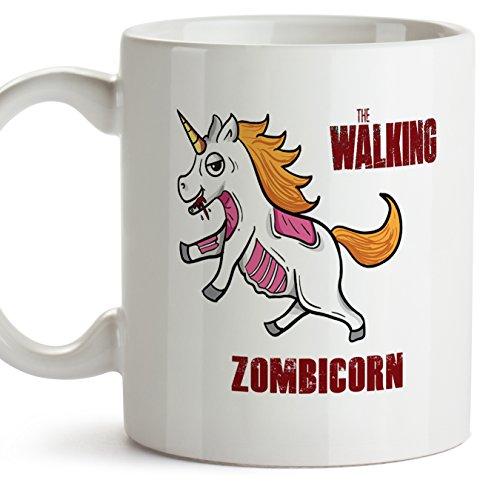 Einhorn-Becher (auf Englisch) - THE WALKING ZOMBICORN - Unicorn mug / Kaffeetasse als Geschenk für The Walking Dead Fans und für Einhorn-Fans - Keramik - 11oz / 350 ml (Walking Dead Sachen)