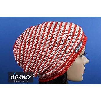 Beanie DORSET Unisex rot-weiß gestreift Häkel-Mütze von siamo-handmade