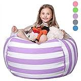 Wekapo Stofftier Aufbewahrung Sitzsack | 96,5cm Extra Groß | 121,9cm Qualität YKK-Reißverschluss | Premium Baumwolle violett