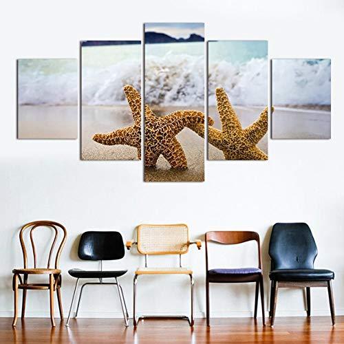 WZYWLH Cuadros Fallout Paintings 5   Stücke Malerei Zwei Seesterne öl Spray Leinwand auf Wandkunst Bild Home Decor Für Wohnzimmer Moderne