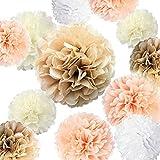 Kaptin Lot de 20 pompons en papier, fleurs en papier, décorations de fleurs, 35,6 cm, 25,4 cm, 20,3 cm, 15,2 cm en papier pour mariage, anniversaire, fête prénatale (champagne, pêche, ivoire, blanc)
