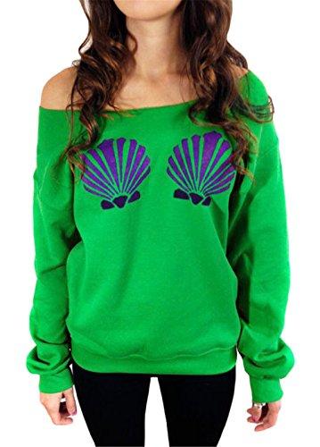 Damenmode Langarm-Boots-Kragen Shell Printing dünne Sweatshirt Bluse Grün