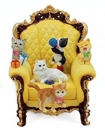 Musicbox World 1-Piece Wing Chair with Playful Cats