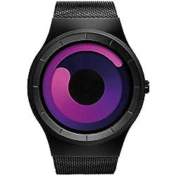 Motus Stainless Steel Mesh Strap Sport Watch Quartz Wristwatch Unisex