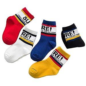 RUOHAN Kinder Socken 5 Paar Kindersocken Baumwollsocken Herbst- Und Wintersocken Briefe Baumwollsportsocken
