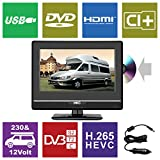 HKC 13M4C 13.3 inch (33.68 cm) LCD Fernseher with DVD Player (FHD, IPS Panel,Triple Tuner, DVB-T2/S2/T/S/C, CI+, H.265/HEVC. 230V/12V, 12 Volt Vehicle Charger Included, USB2.0, PVR/Timeshift Ready)