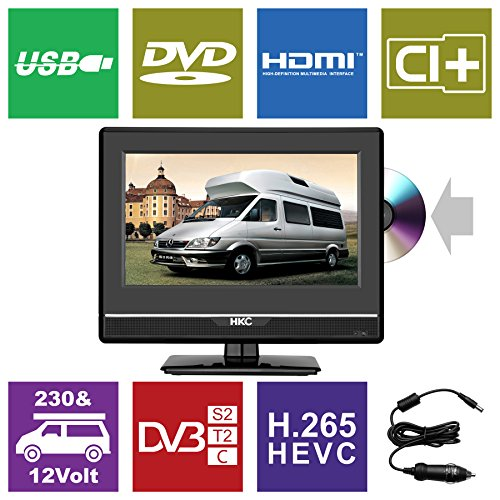 fernseher 12 zoll HKC 13M4C 13.3 inch (33.68 cm) LCD Fernseher with DVD Player (FHD, IPS Panel,Triple Tuner, DVB-T2/S2/T/S/C, CI+, H.265/HEVC. 230V/12V, 12 Volt Vehicle Charger Included, USB2.0, PVR/Timeshift Ready)