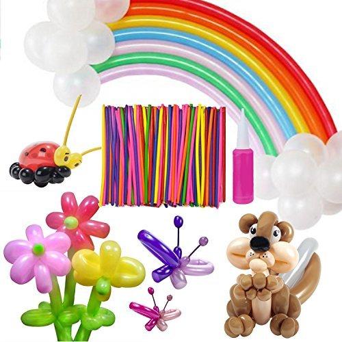 Ballons de Modélisation avec Pompe – Meersee 200 Ballons de Baudruche à Modeler Multicolores Magiques Ballons en Latex Longue pour Anniversaires, Party, Cérémonie de Mariage (longue)
