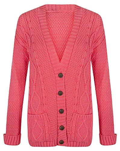 En tricot pour femme Motif diamant Hanger Cardigan Col en V à boutons Rose - Corail