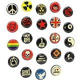 COM-FOUR® 23x runde Magnete, witzige Magnet-Pins für Kühlschrank, Pinnwand etc. mit vielen Motiven