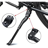 """Caballete Lateral Ajustable,soporte de bicicleta de aleación ajustable MTB con pie de goma antideslizante,soporte de pie de aleación universal para bicicleta de montaña,bicicleta de carretera y bicicleta plegable 22 """"- 27""""(Negro )"""
