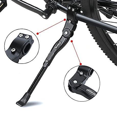 ANWONE Caballete Lateral Ajustable Soporte de Bicicleta de aleaci n Ajustable MTB con pie de Goma Antideslizante Soporte de p