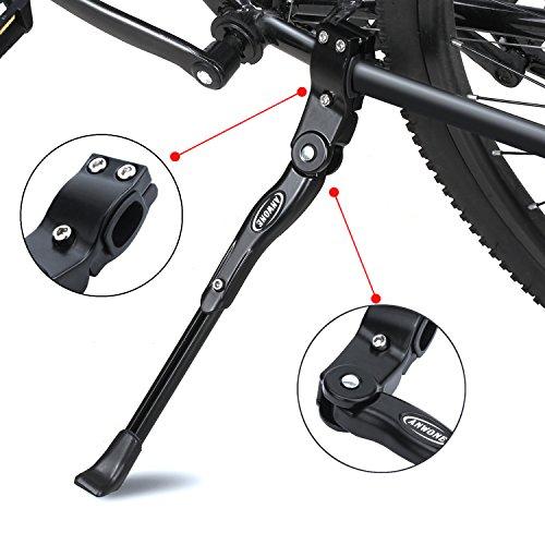 """Fahrradständer, verstellbarer Aluminium-Legierung MTB Fahrradständer mit Anti-Rutsch Gummi-Fuß, Universal Legierung Kick Stand für Mountainbike, Rennrad Fahrräder und Klapprad 22 """"- 27""""(Schwarz)"""
