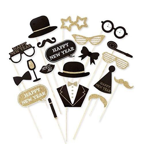 Foto Party Accessoires Fotorequisiten Happy New Year Fotoset Neues Jahr Fotografie Silvesterparty Sylvester Requisiten Fotoaccessoires Silvester Photo Booth Set