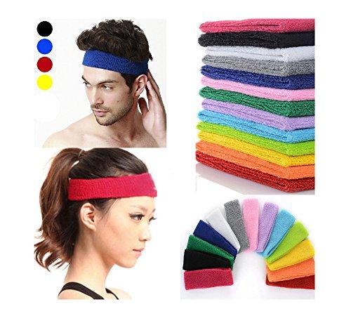 Stirnband Headband Kopfband Knitband Schweißband schwarz rot weiß Stirnbänder Tennis Squash Badminton Fitness (Weiß) - 2