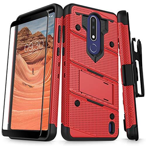 Zizo Bolt Series compatibile con Nokia 3.1Plus di grado militare goccia pellicola protettiva in vetro per testati con fessure e cavalletto Rosso/nero