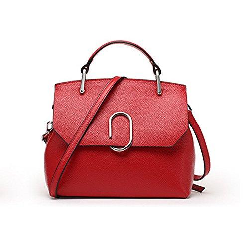 Sheli Damenhandtaschen Rot Lederne Mittlere Tote Damenhandtaschen Umhängetaschen Geburtstags-Geschenk für Freundin Frau-Ehefrau (: Handtasche Metallic-leder Cabrio)