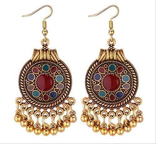 Indischen Klassischen Der Tanz Kostüm - CSJ Ohrringe Ethnische Vintage Quaste baumelnde Ohrringe für Frauen Stil Ohrringe Indischer Schmuck Rot