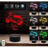 I LOVE VESPA Lampada led personalizzabile 7 colori selezionabili con touch Idea regalo originale compleanno Anniversario San Valentino Natale Luce da notte