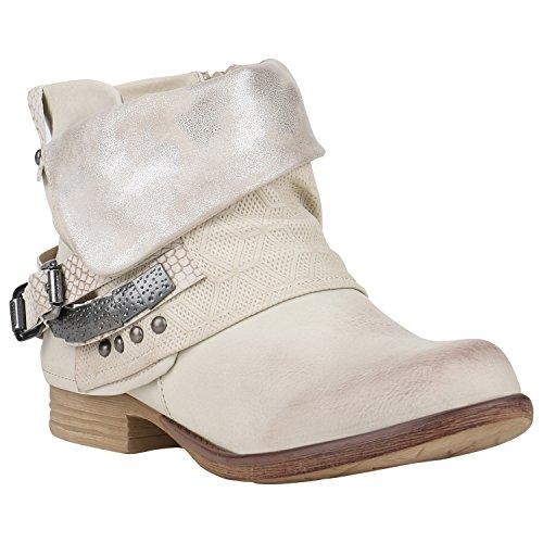 Bootparadies Stylish Ladies Stivaletti Stivali Biker Boots Metallici Rivetti Flandell Crema Glitter Argento