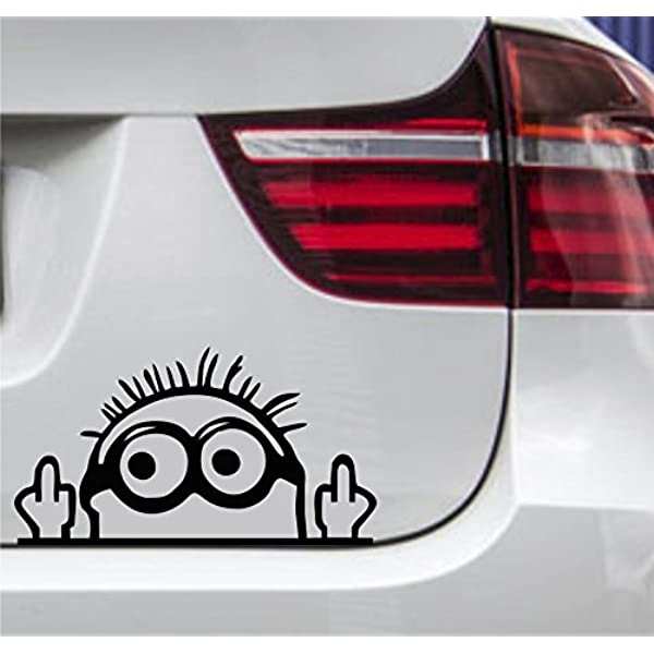 Wdesigns Autoaufkleber Minion Stinkefinger Tuning Aufkleber Sticker Jdm Oem 15x9cm Auto