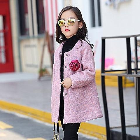 MYM las niñas los niños niños de la chaqueta rompevientos nuevas muchachas del invierno sección de largo marea capa de lana , 160