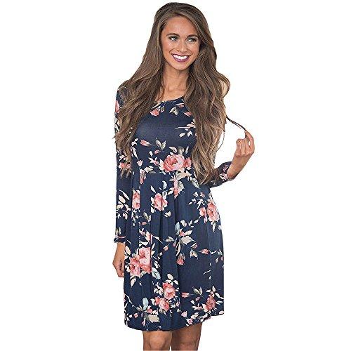 Vruan Frauen Casual Kleid Blumendruck Langarm A-Linie Kleider 4 Farbe Größe 6-12