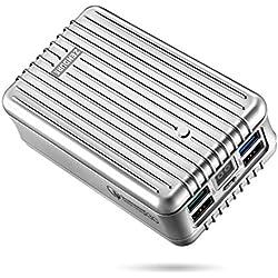 Zendure A8QC 26800mAh 4-Puertos Bateria Externa para movil, Cargador Portátil con Quick Charge 3.0 y Pantalla Digital LED para iPhone, Samsung Galaxy, Huawei, HTC y Más iOS y Android, Plata