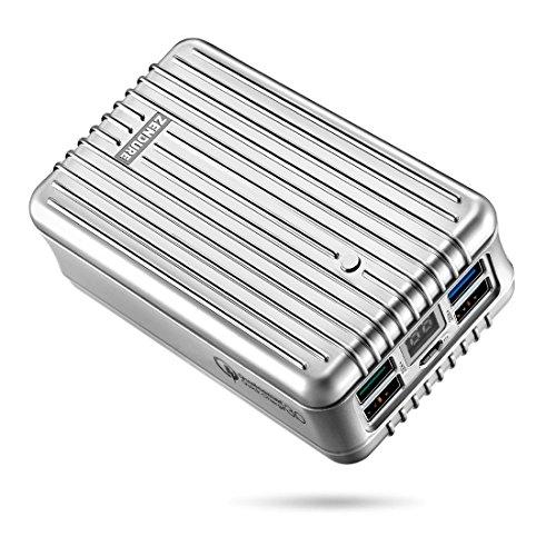 Zendure A8QC 26800mAh Powerbank Externer Akku,Akkupack mit Qualcomm Communicative Cross 3.0, kompakter Zusatzakku mit 4-Port und LED Digitaler Anzeige für iPhone 7/7 plus, iPad, Samsung Galaxy und mehr Smartphone -Silber