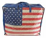 Extragroße Aufbewahrungstasche Riesentasche Wäschetasche Umzugstasche Jumbo Bag 90 Liter, USA Flagge Stars and Stripes