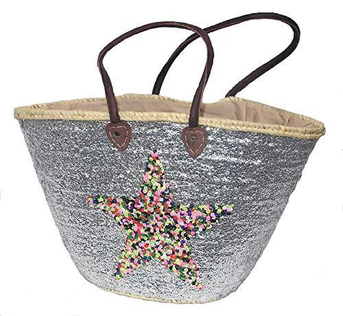 Asiartis Ibiza Strandtasche, Korbtasche mit silbernen Pailletten und multicolour Stern verziert mit Lederriemen -