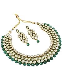 Shining Diva Royal Kundan Traditional Jewellery Necklace Set for Women(Black)(7818s)